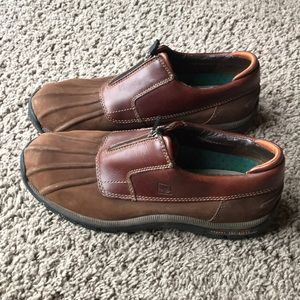 Men's sperry ankle zipper duck boots size 10 brown